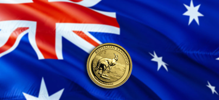 AUD coin on Australian flag
