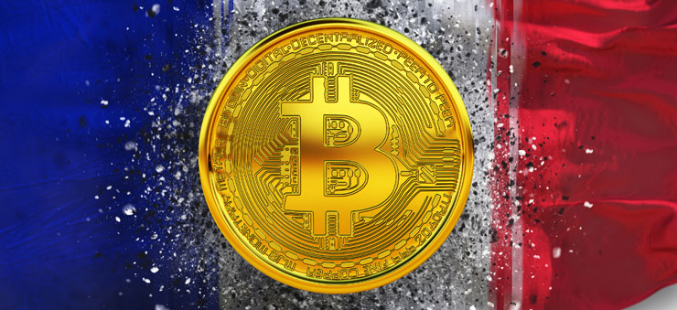 Bitcoin over French flag