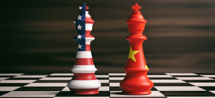 China US trade war represented by chess pawns