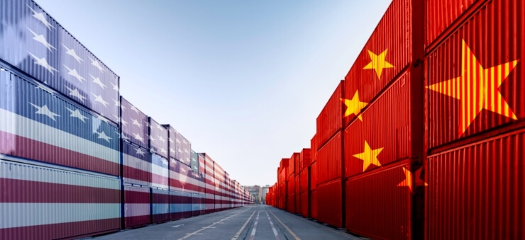 containers with flags of US and China superimposed