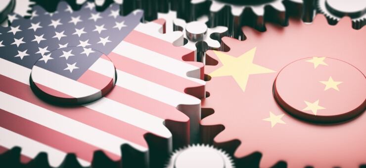 China-US trade cogs symbol