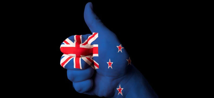 NZ flag painted on a hand