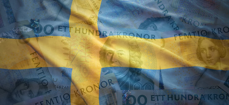 Sweden flag and money