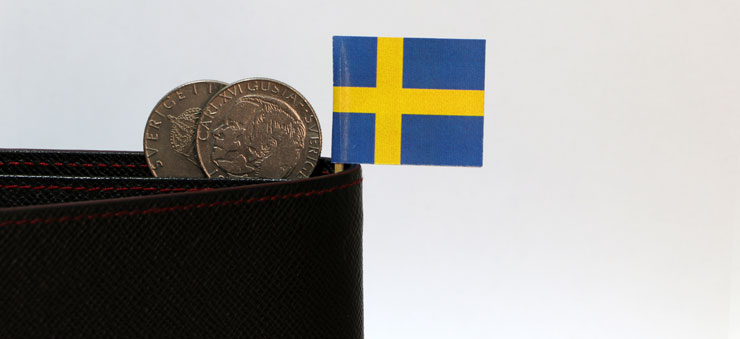 SEK coins and SV flag