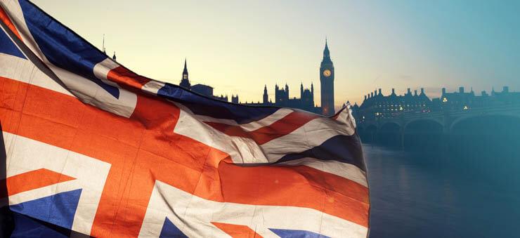 Great Britain flag waving
