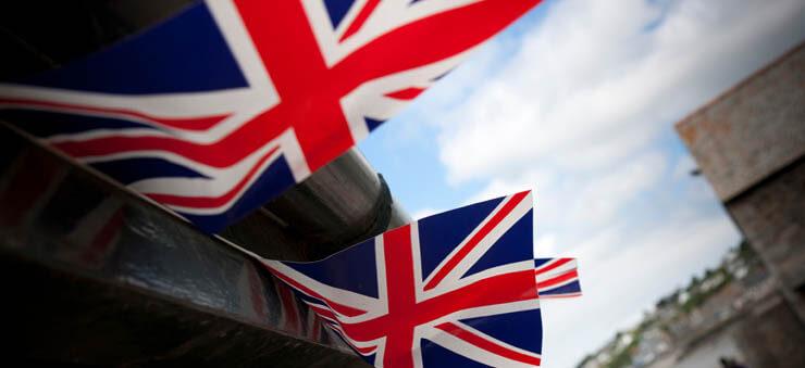 Row of UK flags