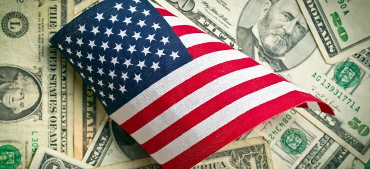 US dollar and flag