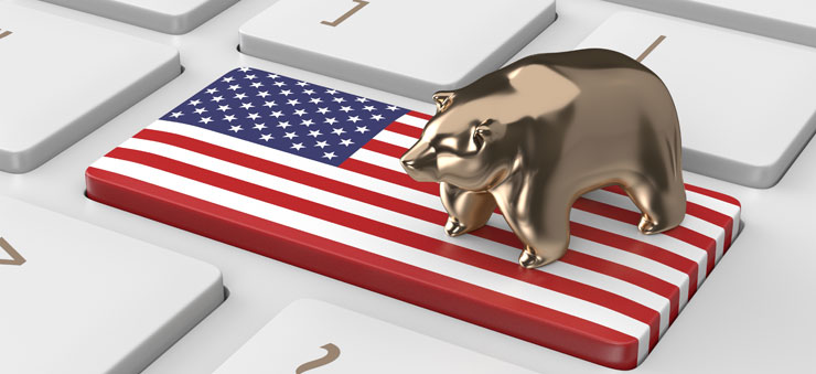 Bearish image on US flag