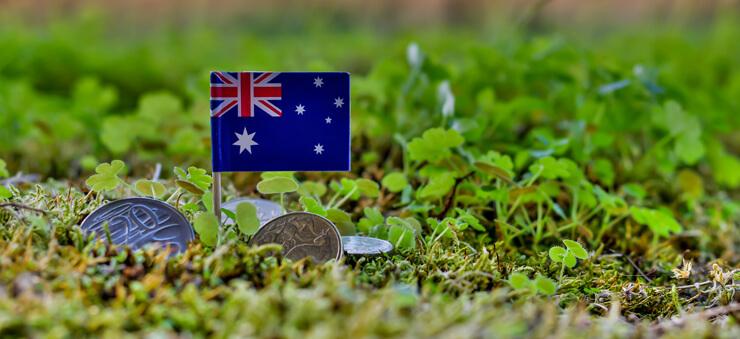 Australian flag and coins