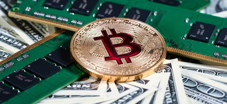 Bitcoin, dollar notes, RAM