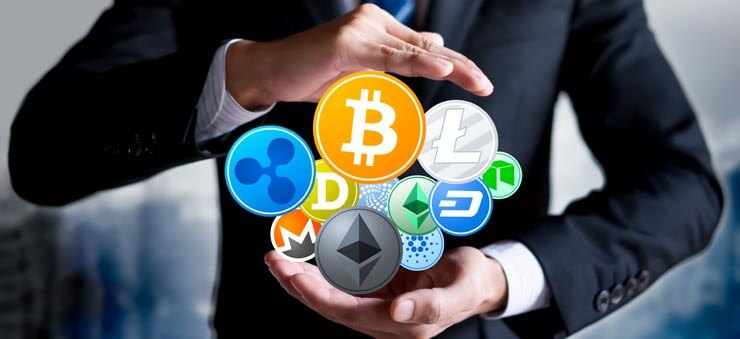 businessman holding virtual cryptocurrency coins