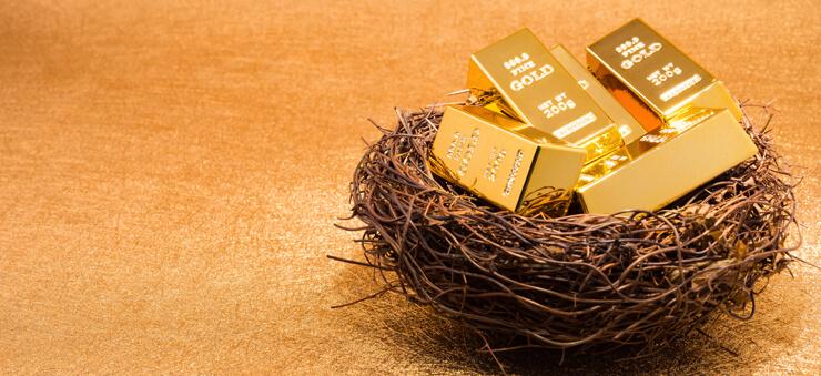 Gold bars on a bird's nest