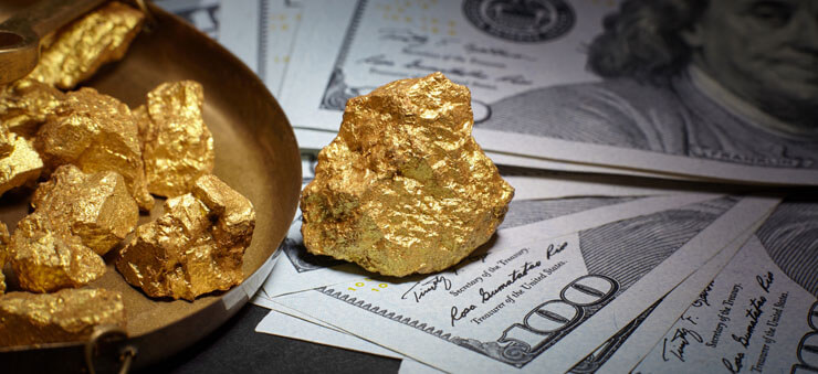gold nuggets and dollar bills
