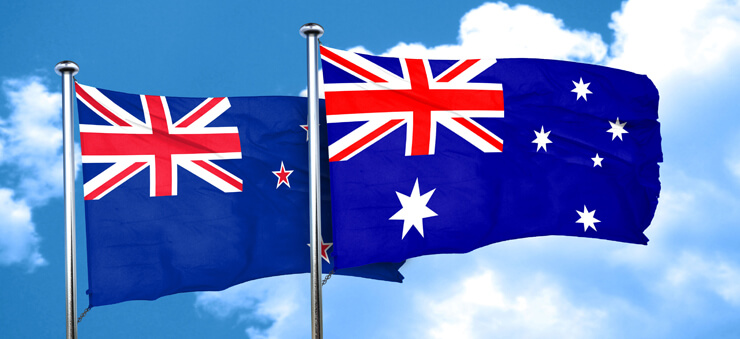 flags of New Zealand and Australia
