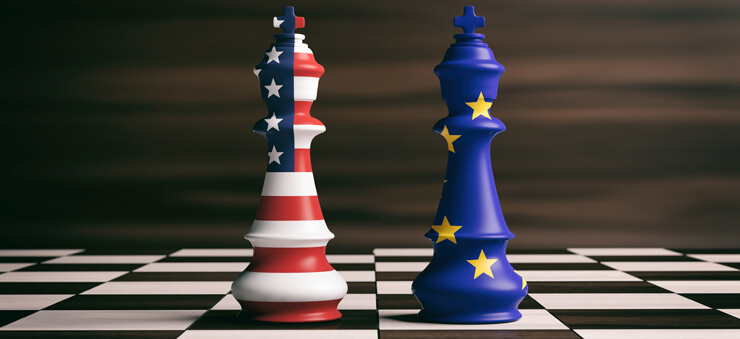 US/EU flags printed on chess pieces